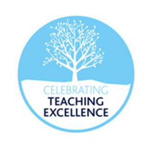 A blue and white circle showing an image of a tree and the text celebrating teaching excellence